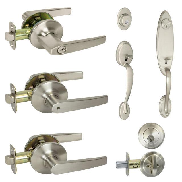 Cosmas 80 Series Satin Nickel Privacy Door Lever Knob DL82-SN Bedroom /& Bathroom