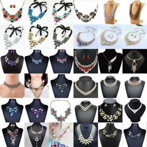 Fashion-Women-Pendant-Crystal-Choker-Chunky-Statement-Chain-Bib-Necklace-Jewelry