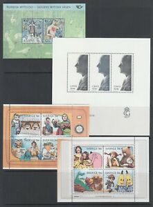 Sweden-Sc-2527-2528-2544-2545-MNH-2006-Souvenir-sheets-3-complete-sets-VF