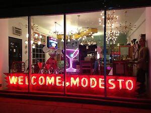 Vintage-1920-039-s-1930-039-s-Original-034-Welcome-To-Modesto-034-Neon-Sign-Rare-California