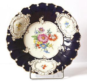 Meissen-Prunkteller-Teller-Prunk-Schale-Kobaltblau-Gold-Blumen-1-Wahl-Porzellan