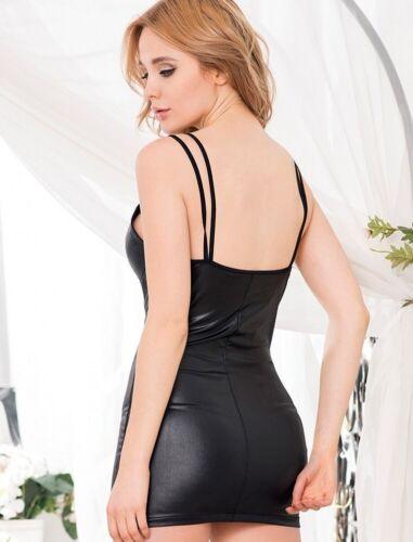 lau-fashion Reißverschluss Damen Lack Leder Kleid Schwarz Wetlook Dessous L//XL