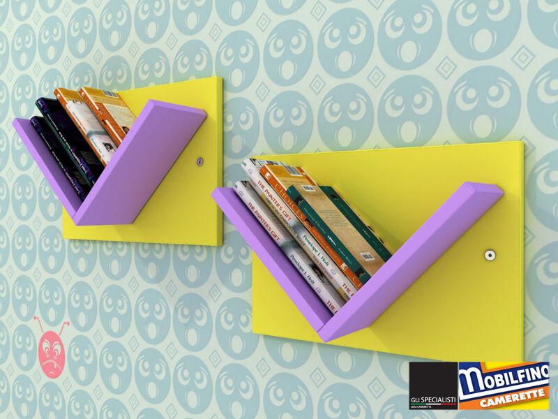 Set 2Pz Libreria modulare Mensole Design cameretta jaune LILLA made in