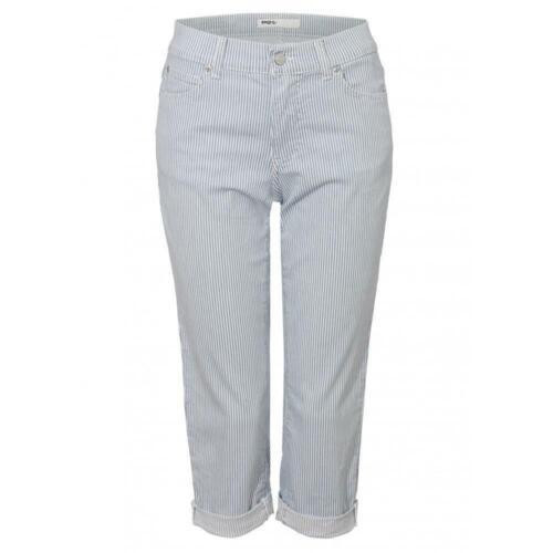 Angels Cici TU fDamen Capri Hose//jeans in Blau-Weiß gestreift Stretch
