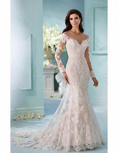 White ivory wedding dress long sleeve sheer neck mermaid bridal gown image is loading white ivory wedding dress long sleeve sheer neck junglespirit Image collections