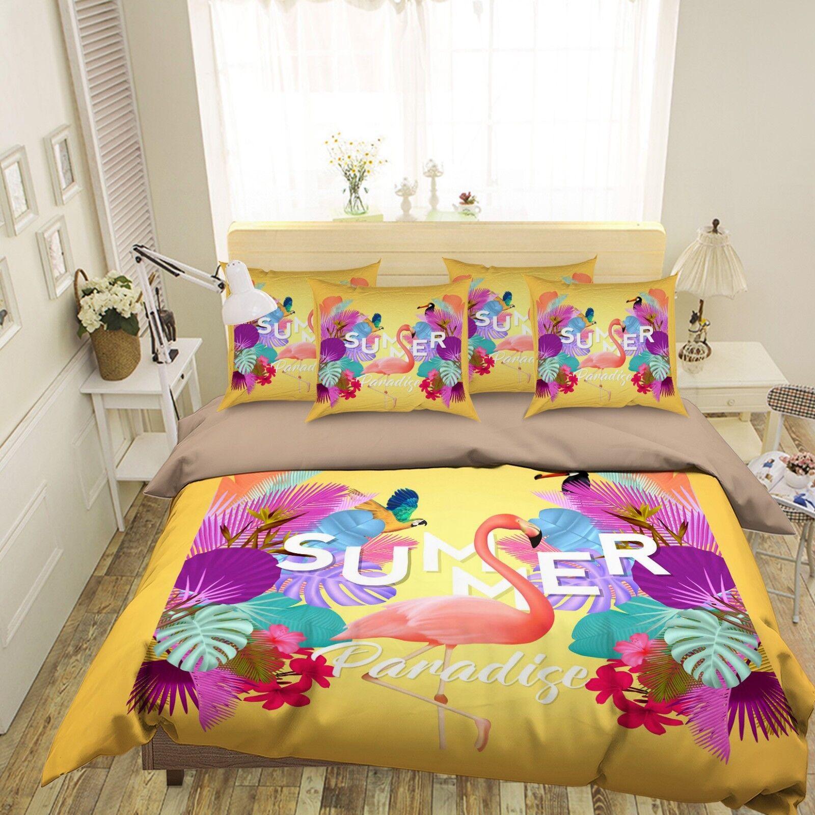 3D Leaf Heron 68 Bed Pillowcases Quilt Duvet Cover Set Single King UK Summer