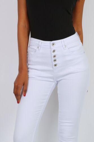 Skinny Damen Stretch Röhrenjeans mit Knopfleiste Weiß #H1816