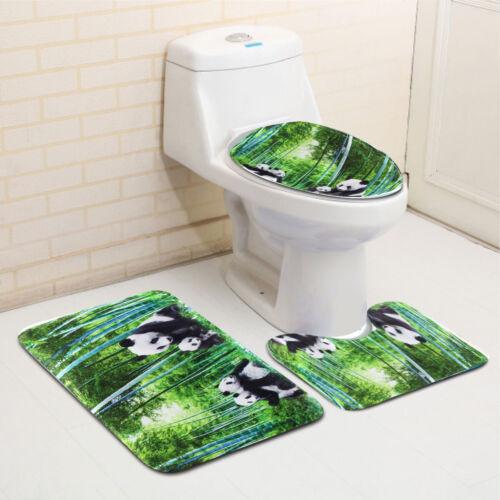 4Pcs Panda Bamboo Decor Non-Slip Rug Toilet Lid Cover Bath Mat Shower Curtain