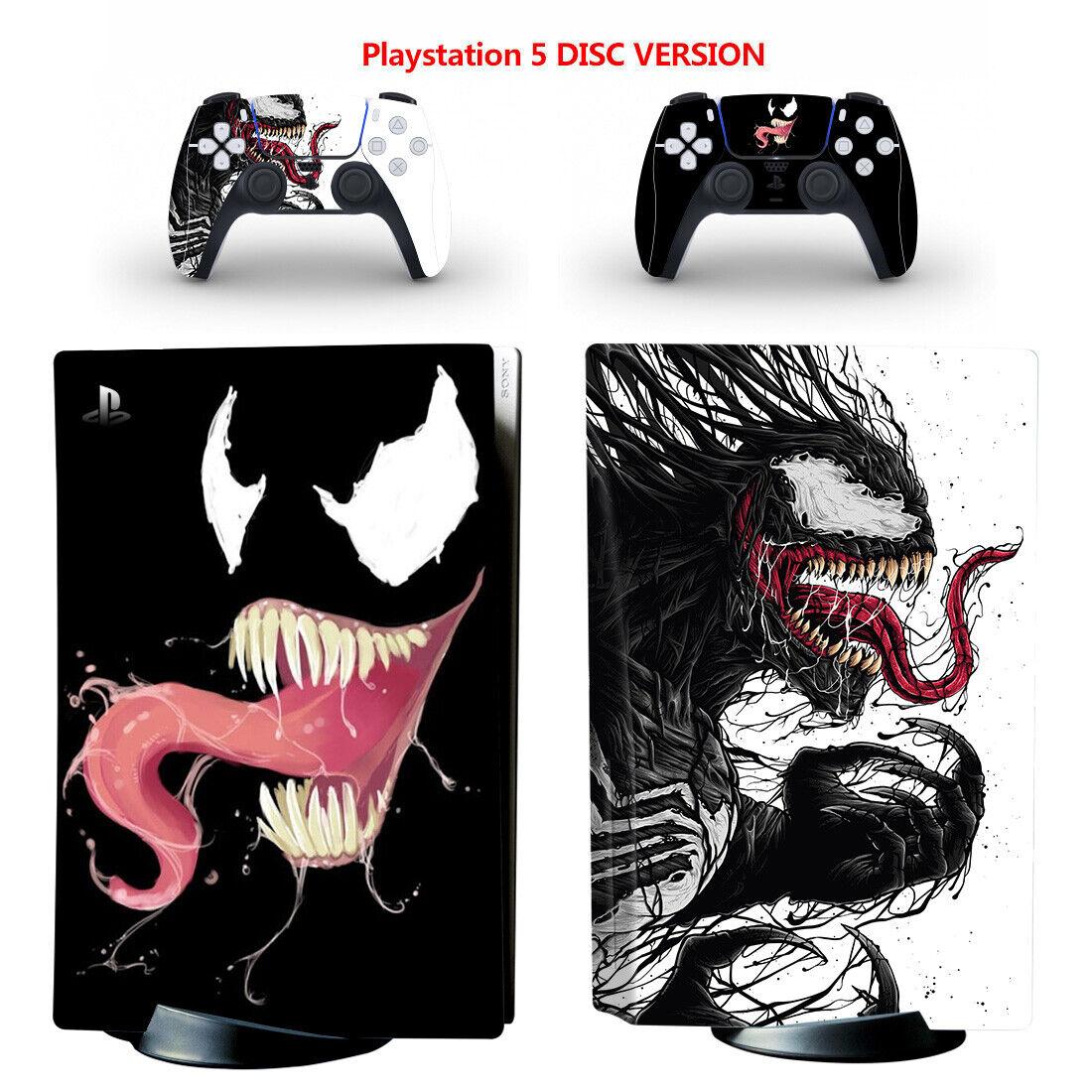Venom Full Vinyl Wrap Skin Sticker for PS5 Console & 2 Controllers Disc Version