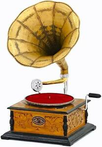 Sammeln & Seltenes Grammophon 4-eckig Trichter Gramofon Phonograph Schellackplatten Gramophone Top
