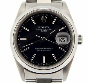 004fe32ed703 Image is loading Mens-Rolex-Date-Stainless-Steel-Watch-Oyster-Bracelet-