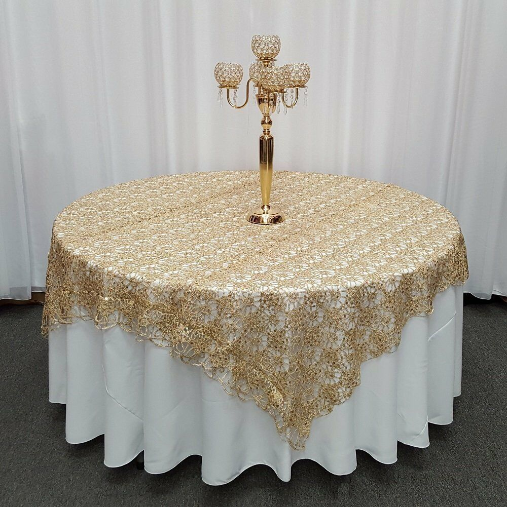 Champagne Chemical Lace Sequin Table Overlay 72 x 72 inch Made in USA Wedding