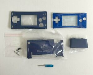 Replacement-Housing-for-Nintendo-Gameboy-Micro-Shell-Faceplate-Screen-Blue-Tool