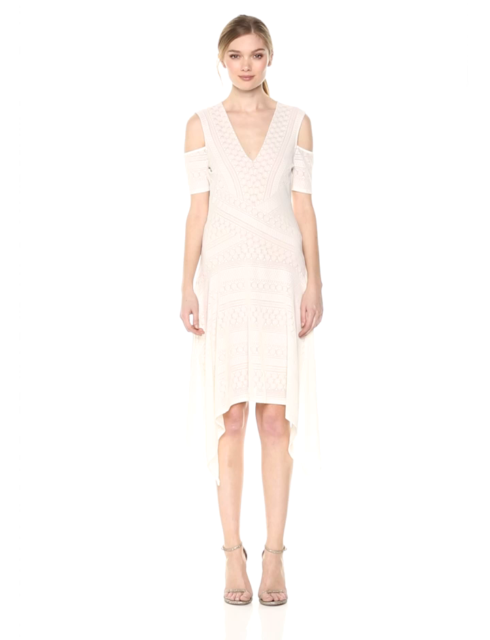 $228 New Women's BCBG Odette Asymmetrical Cold-Shoulder Dress SZ L Gardenia