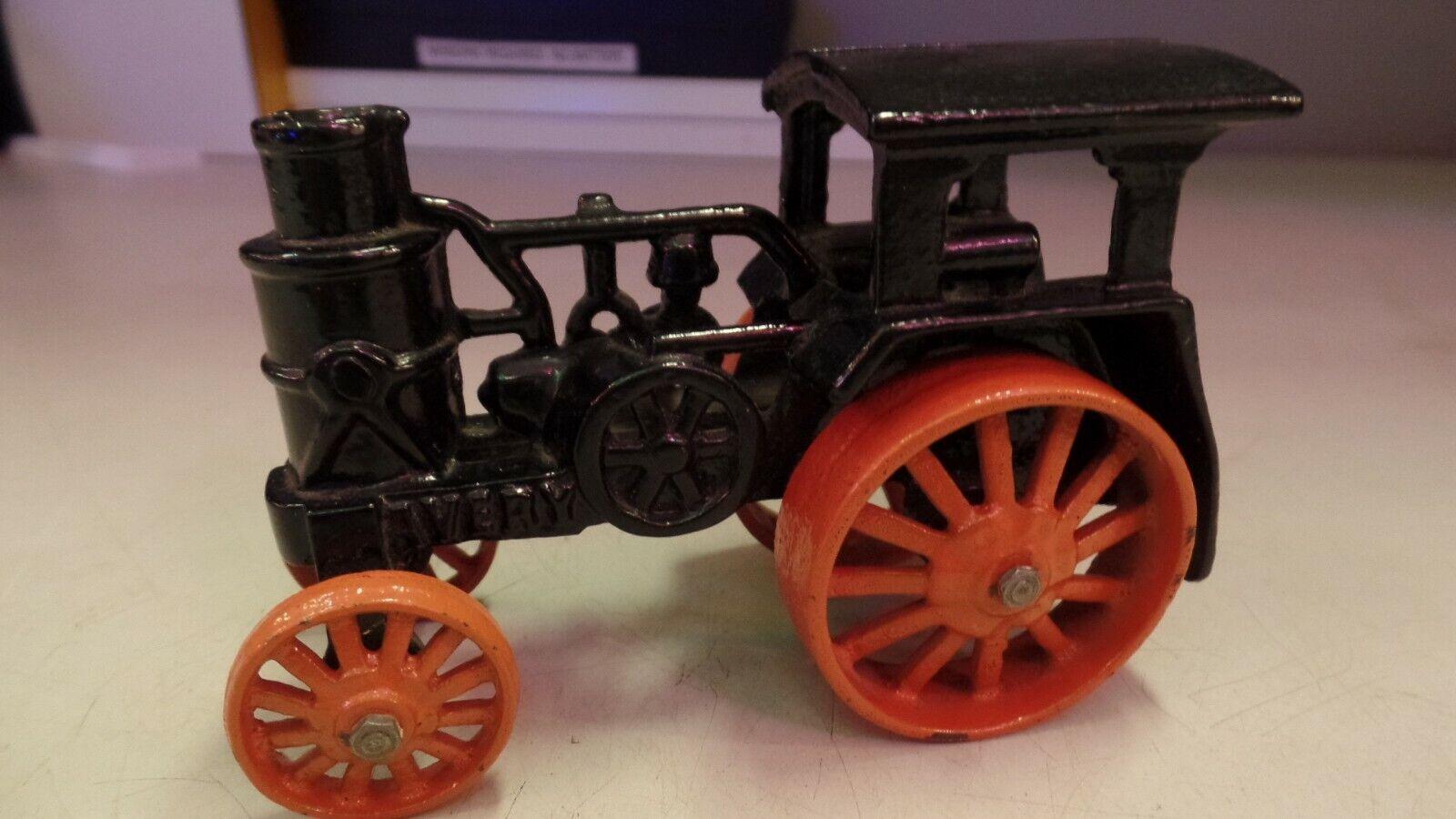 Avery Antiguo De Hierro Fundido Juguete Tractor De Vapor 1920s Negro Con blancoo Neumáticos Envío Gratuito