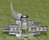 Henri Bendel Skyline Deco Cocktail Crystal Ring Size 7 Retail 128.00