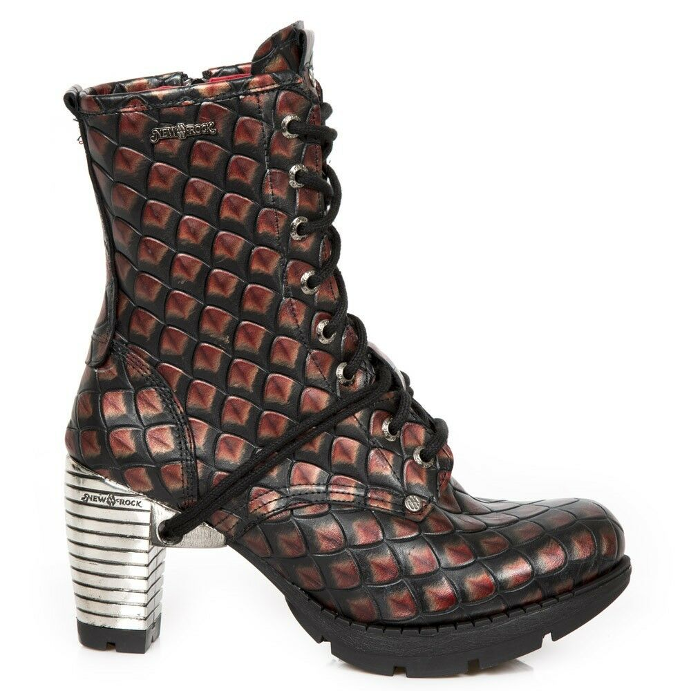 NEWROCK New Rock TR001-S59 Ladies Red Cow Leather  Boots Punk Gothic Urban  Leather Boots 7b5f60