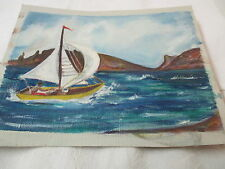 1950's Oil on Canvas Original Art Mabel Vosper Caribbean Boat Sailing