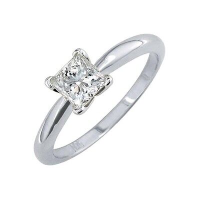 20161003. Certified 0.71 CTW Princess Diamond Solitaire 14k Ring D/SI2 #84... Lot 20161003