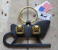 Christmas Sleigh Bell Dog Door Chime Amish Handmade Usa Brass Leather Holiday