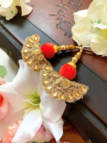 1 Pair Latest Indian stone Zari velvet Latkan Sari Blouse Accessory Duppata