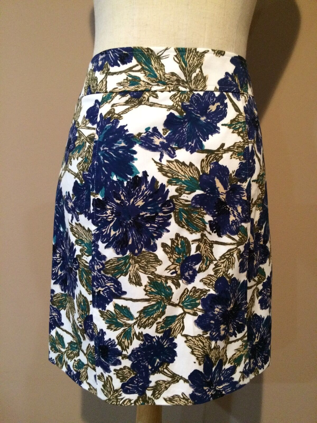 Brooks bredhers Multi color Floral Lined Cotton Spandex Skirt Sz. 10-usa, Eur 44