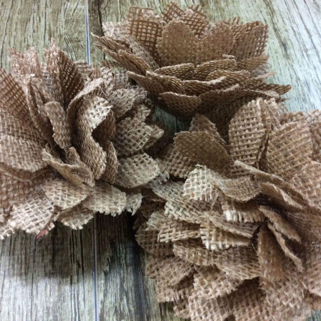 5x Burlap Rose Flowers Jute Flower Hessian Vintage Rustic Wedding Party Decorati