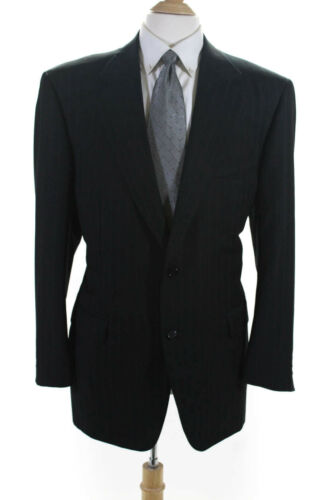 Canali Mens Wool Striped Two Button Notched Collar