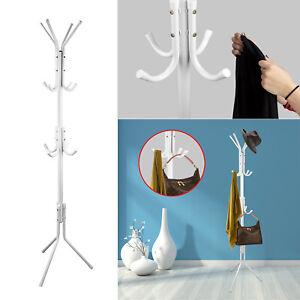 68-034-Metal-Coat-Rack-Free-Standing-Tree-Hat-Umbrella-Holder-Hanger-Hooks-White-US