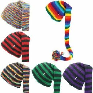 Wool Knit Hat Tinky Winky Tail Beanie Sheep Fleece Lined Festival Glastonbury