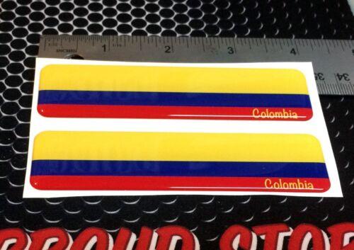 "Colombia Flag Proud Domed Decal Car Emblem Flexible 3D 4/""x1/"" Set of 2 Sticker"
