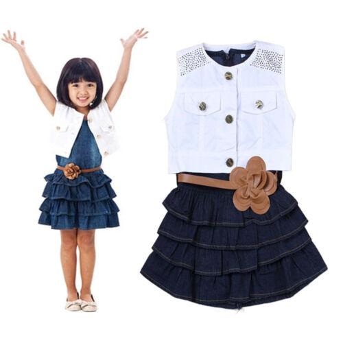Children kids Girl Summer Models Vest Jeans Dress Jacket 2pc Suits Clothes set
