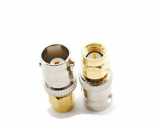 10-PACK BNC Female to Gold-Plated SMA Male Plug Coaxial RF Adapter RF-M123G-10