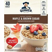 40-Count Quaker Instant Oatmeal Maple Brown Sugar Flavor Packets
