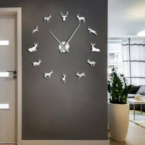 Modern Deer Head DIY Giant Large Wall Clock Kit Mechanism Home Hot Decorati J5Q8