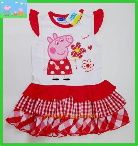 BNWT Peppa Pig girls cotton top t-shirt tshirt ruffle skirt Dress New