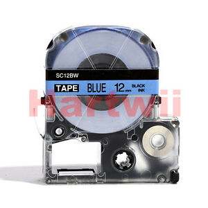 "EPSON LC-4LBP Compatible 1/2 x 26"" Label Tape  Black on Blue 12mm 8m  LW500"