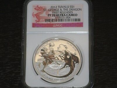 Tuvalu 2012 1$ Dragons of Legend ST GEORGE AND THE DRAGON 1 Oz Silver .999 Coin