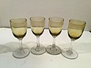 Set-of-4-Vintage-Yellow-Amber-Glass-Clear-Stem-Cordial-Liqueur-Glasses