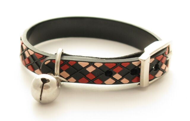 Black Argyle Cat Kitten Safety Collars - 22cm