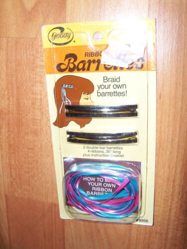 Ribbon Barrettes Metal Braid Your Own Woven  NOS 80/'s Girls Vintage 1981 Goody