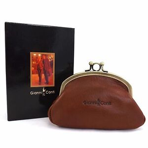Image Is Loading Gianni Conti Purse Leather Clip Top Change
