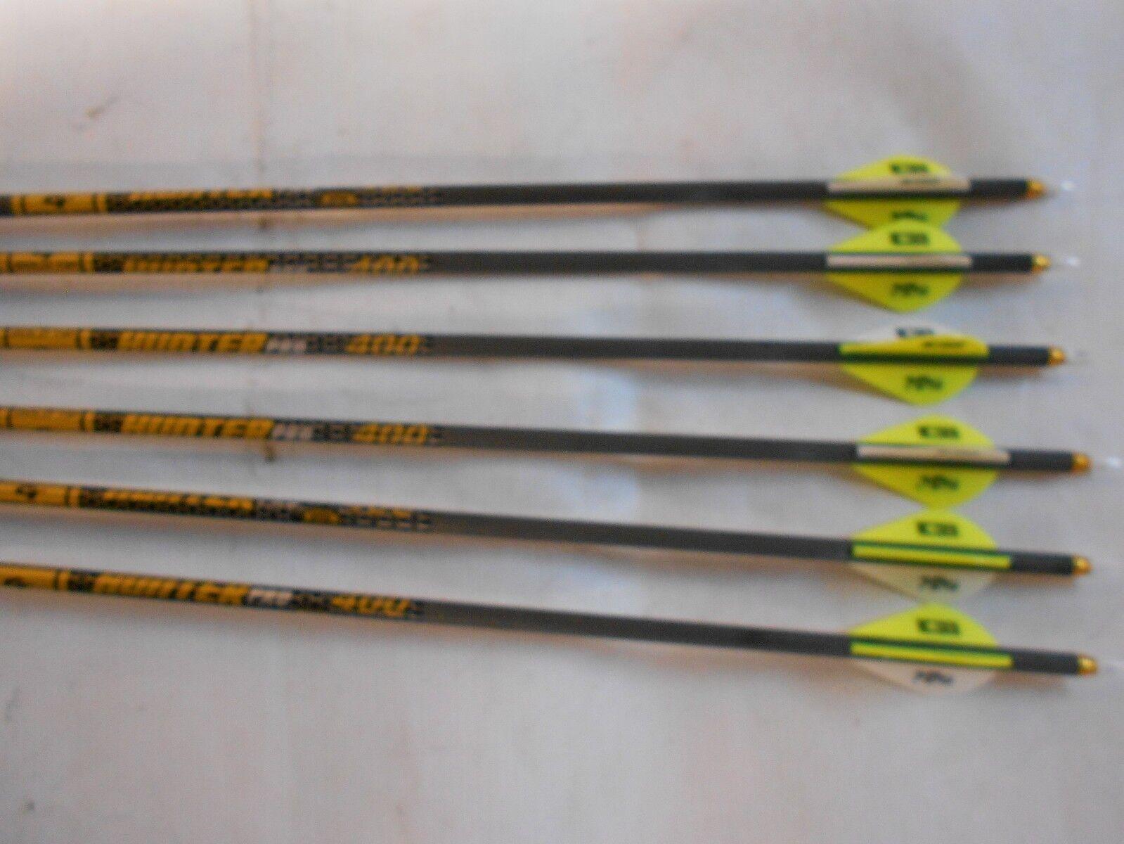 6 Punta De oro Cazador Pro 400 Flechas De Carbono  2  Blazer Vane 5575 cortar a la longitud