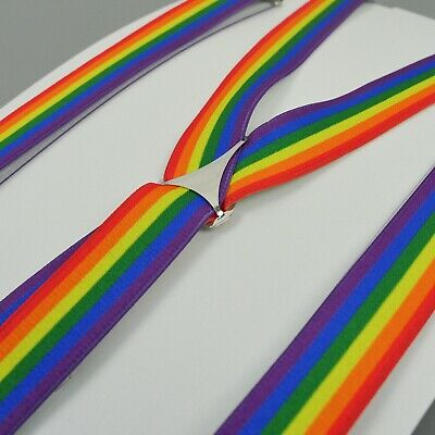 Rainbow Braces Mens Clip On Trouser Braces Elastic Suspenders Pride Handmade UK
