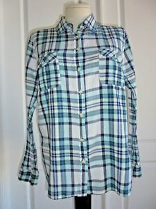 7e5126a092bef SONOMA Green White Plaid Long Sleeve Button Front Cotton Shirt Sz L ...