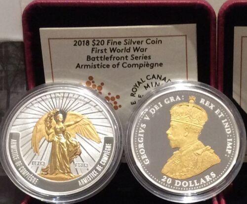 1918-2018 Armistice Compiègne $20 1OZ SilverProof Coin Canada 1stWar Battlefront