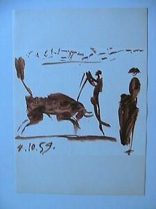 Picasso-Toros-Y-Toreros-1961-Watercolor-Lithograph-Print-Matador-Limited-Edition