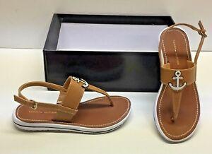 9f556054678034 Tommy Hilfiger Galiant Tan T-Strap Anchor Detail Flats Sandals Shoes ...