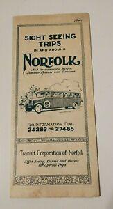 Vintage Travel Brochure 1921 Norfolk Virginia Sight Seeing Trips Advertising