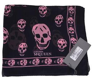 New Alexander Mcqueen $365 110640 Violet Pink SKULL Silk